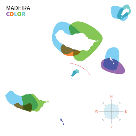 madeira: Abstract vector color map of Madeira with transparent paint effect.
