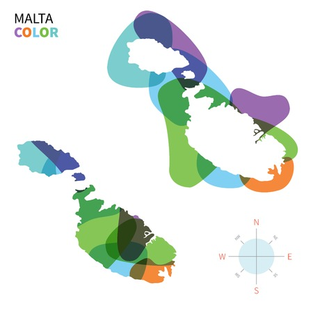 map malta: Abstract vector color map of Malta with transparent paint effect. Illustration