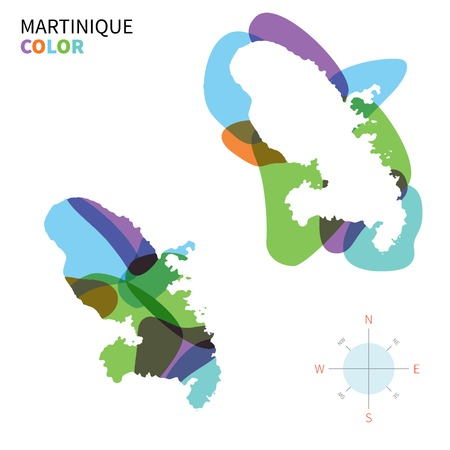 martinique: Abstract vector color map of Martinique with transparent paint effect.