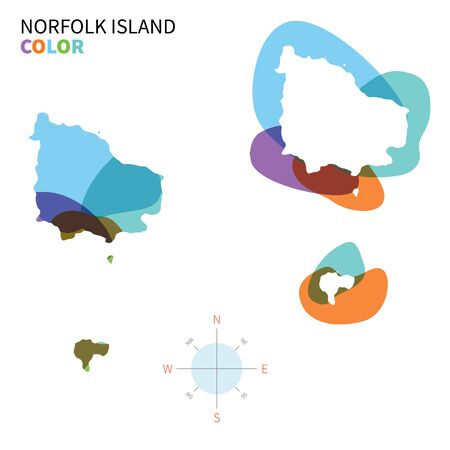 kingston: Abstract vector color map of Norfolk Island with transparent paint effect.