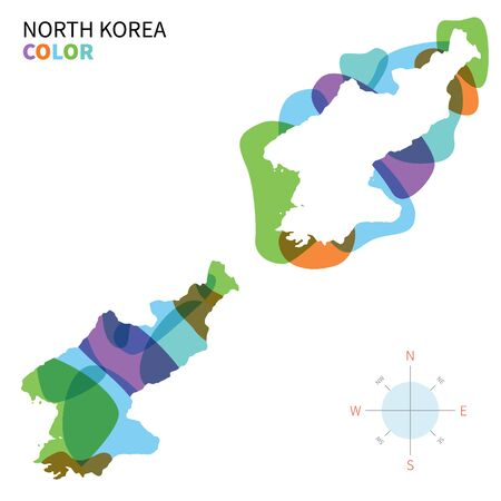 far east: Abstract vector color map of North Korea with transparent paint effect. Illustration