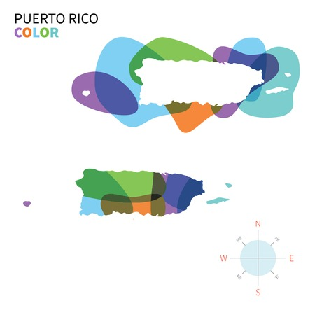 Abstract vector color map of Puerto Rico with transparent paint effect. Vettoriali