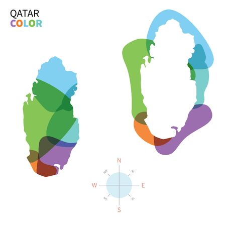 doha: Abstract vector color map of Qatar with transparent paint effect.