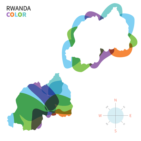 kigali: Abstract vector color map of Rwanda with transparent paint effect.