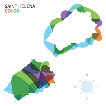 helena: Abstract vector color map of Saint Helena with transparent paint effect.