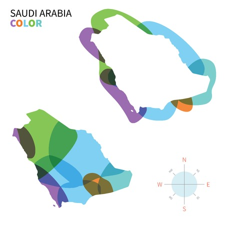 saudi arabia: Abstract vector color map of Saudi Arabia with transparent paint effect. Illustration