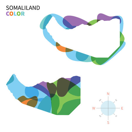somaliland: Abstract vector color map of Somaliland with transparent paint effect.