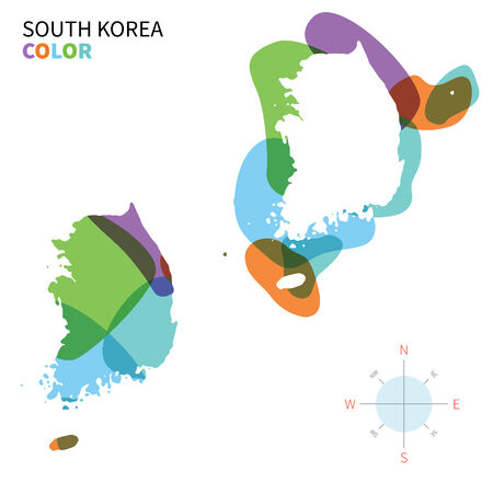 korea: Abstract vector color map of South Korea with transparent paint effect.