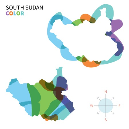 south sudan: Abstract vector color map of South Sudan with transparent paint effect.