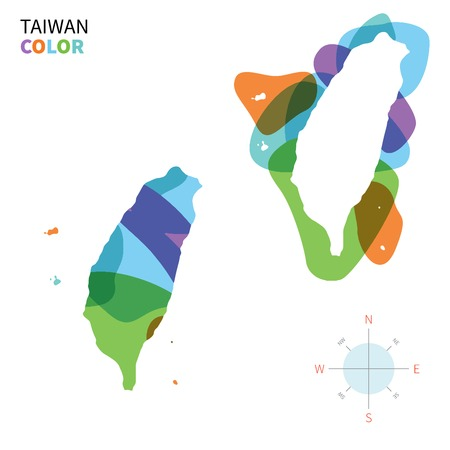 taiwan: Abstract vector color map of Taiwan with transparent paint effect.
