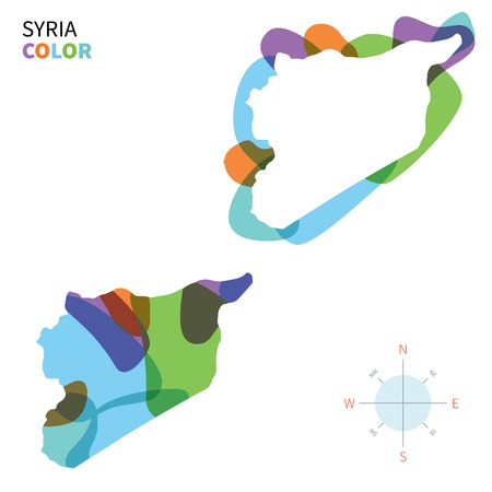 western asia: Abstract vector color map of Syria with transparent paint effect. Illustration