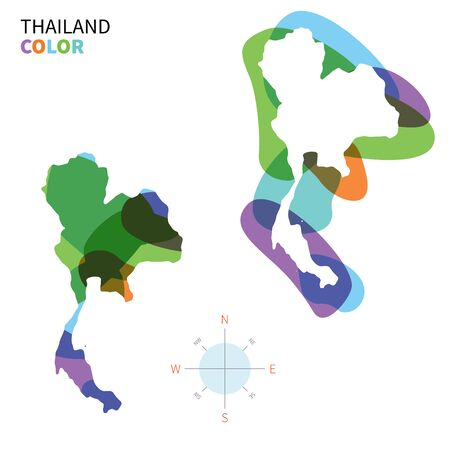 Abstract vector color map of Thailand with transparent paint effect. Vector
