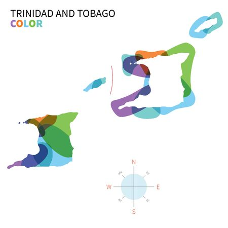 port of spain: Abstract vector color map of Trinidad and Tobago with transparent paint effect.
