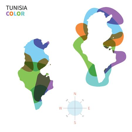Abstract vector color map of Tunisia with transparent paint effect. Vector