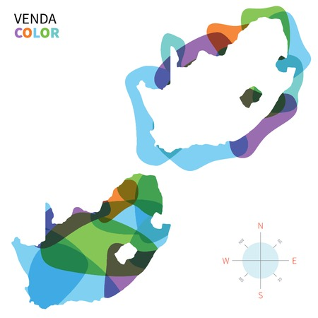 Abstract vector color map of Venda with transparent paint effect. Ilustração