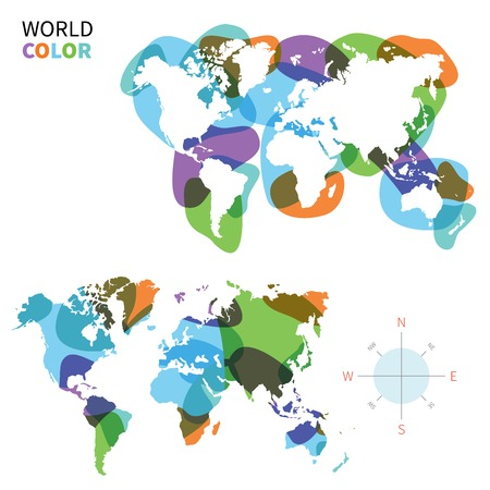 green world: Abstract vector color map of World with transparent paint effect.