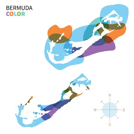 hamilton: Abstract vector color map of Bermuda with transparent paint effect. Illustration