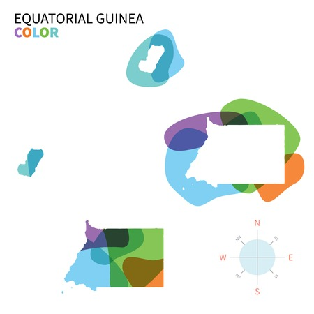 equatorial guinea: Abstract vector color map of Equatorial Guinea with transparent paint effect.