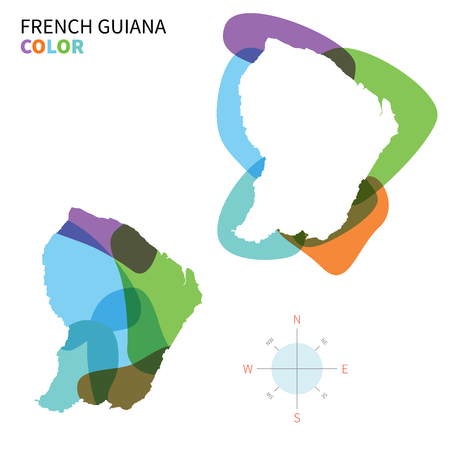 Abstract vector color map of French Guiana with transparent paint effect. Vector