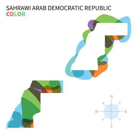sahrawi arab democratic republic: Abstract vector color map of Sahrawi Arab Democratic Republic with transparent paint effect.