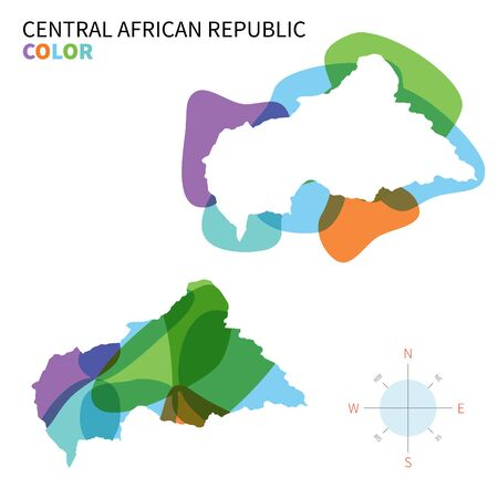 central african republic: Abstract vector color map of Central African Republic with transparent paint effect.