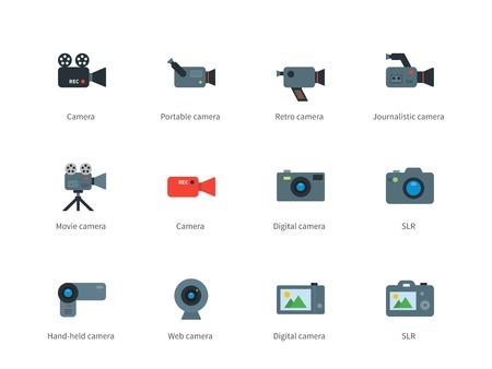 journalistic: Camera color icons on white background.
