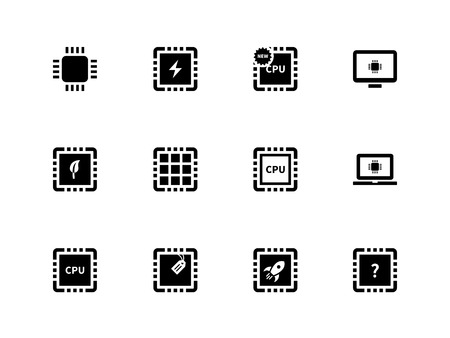 semiconductor: CPU and microprocessor icons on white background.