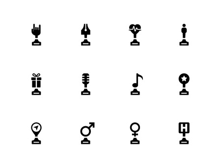 Trophy cup flat icons on white background.
