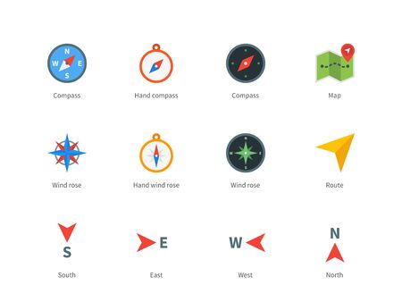 wind rose: Compass and map colored icons on white background.