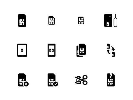 simcard: Mobile phone SIM icons on white background.