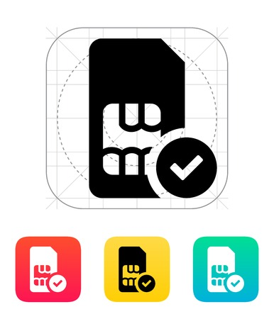 SIM card with accept sign icon. Illustration