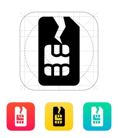 zarar: Hasar SIM kart simgesi. Çizim