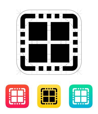 quad: Quad Core CPU icon. Vector illustration. Illustration