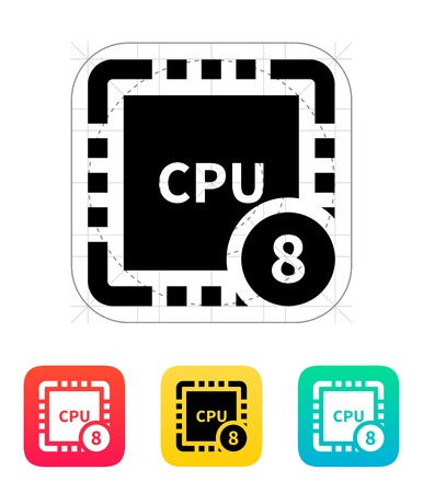 chipset: Eight Core CPU icon. Vector illustration.