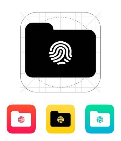 thumbprint: Thumbprint on folder icon. Illustration