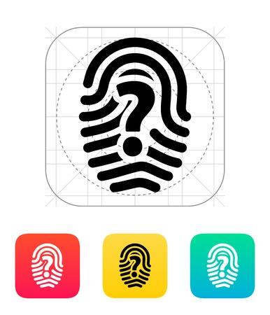 odcisk kciuka: Znak zapytania znak ikonę palca. Ilustracja