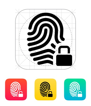 Fingerprint and thumbprint with lock icon. Illustration