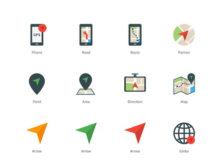 Navigator and GPS color icons on white background. Çizim