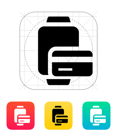 smart card: Payment card in smart watches icon. Illustration