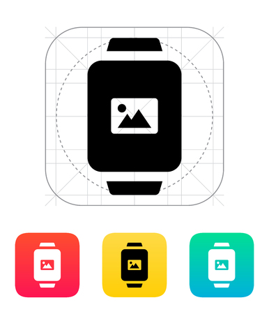 infographics touchscreen: Photo on smart watch icon. Illustration