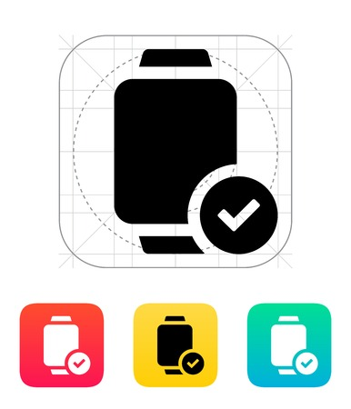 accept: Accept sign on smart watch icon.