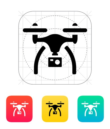 unmanned: Drone with camera icon. Illustration