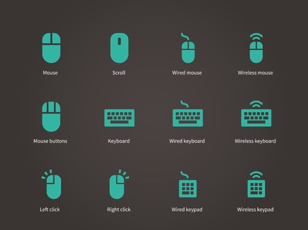 keypad: Keypad and mouse icons. Vector illustration.