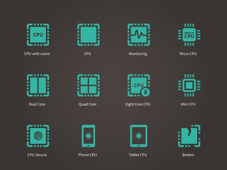 microelectronics: CPU icons set (central processing unit).