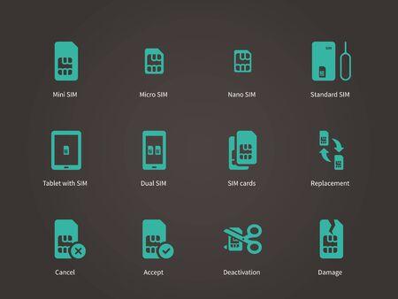 nano: Set of mini, micro and nano simcard icons set.