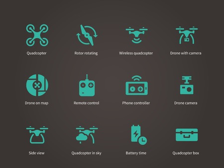 Nieuwe technologieën vliegende drone iconen set.