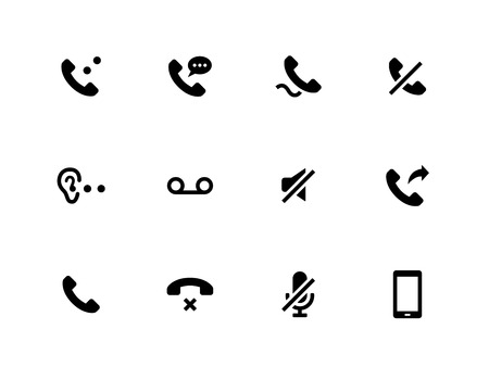 Handset icons on white background.