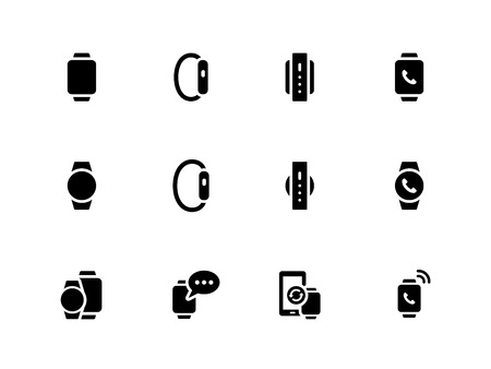 wrist watch: Smart watch icons on white background. Illustration