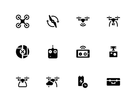 Quadcopter and flying drone icons on white background. Stock Illustratie