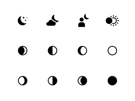 waxing gibbous: Moon phases icons on white background.